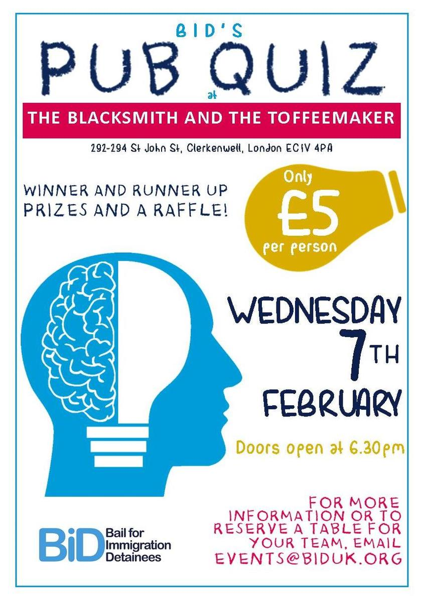 BID's Pub Quiz- Wednesday 7th February 2018! | Bail for