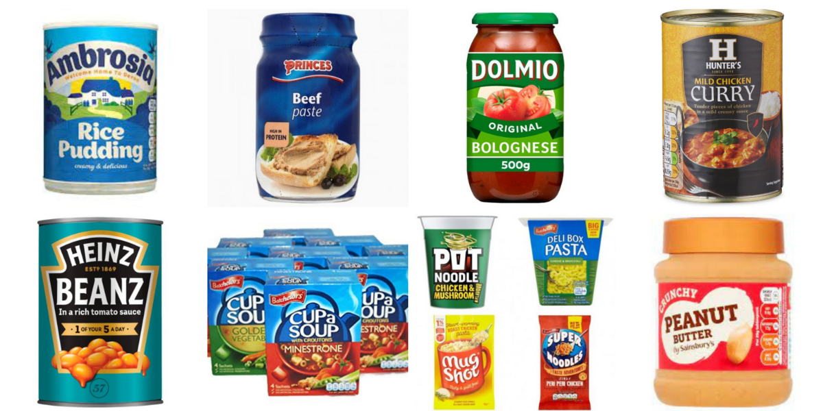 Our shortages beans, cooking sauce and meat meals