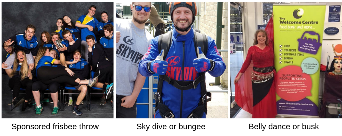 fundraising ideas, sponsored sports activity, sky dive or belly dance