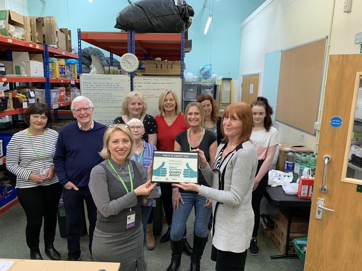 Receiving the Kirklees Volunteering Quality Award