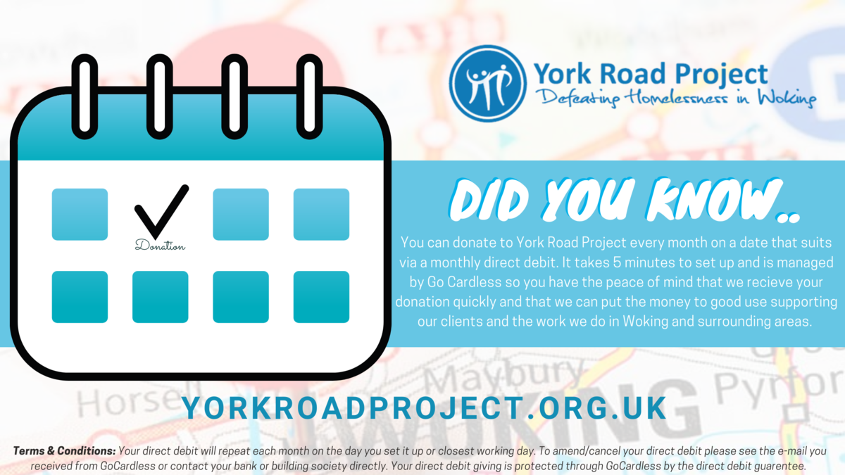 Give by monthly direct debit York Road Project